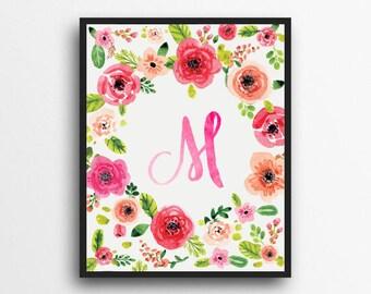 Monogram Letter M Print | Floral Wreath Monogram | Initial Print | Watercolor Floral Print | Digital Download