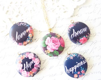 Affirmation Locket - Affirmation Jewelry - Love Dream Happiness Hope Floral Rose Locket - Inspirational Locket - Round Photo Gift Locket