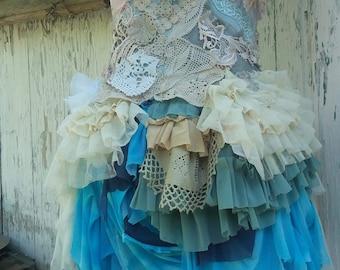 Dress, fae, wedding dress, alternative wedding, bridal,faerie punk, mermaid, layers and frills, Marrie Antoinette, steampunk, roccoco, lace