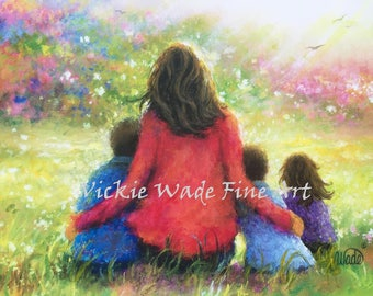 Mother Two Sons & Daughter Art Print, two boys  and little girl, mom, garden, two brothers little sister, Vickie Wade Art