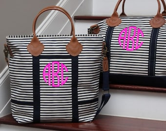 Monogram Navy Stripe Canvas Flight Bag with Leather Handles font shown NATURAL CIRCLE in bright pink