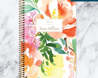 bullet journal NOTEBOOK | personalized journal | travel journal | dot grid notebook | lined | spiral notebook | citrus watercolor floral