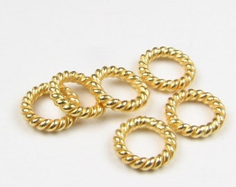 6mm 24k Bali Gold Vermeil Closed Twist Rings, Closed Jump Rings, Jewelry Making Findings, Beading Supplies  (10 beads)