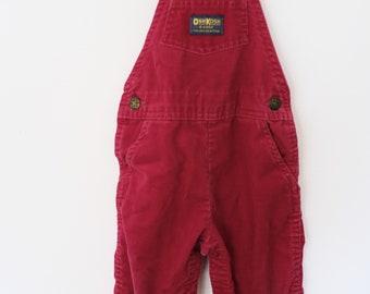 Vintage Red Corduroy Osh Kosh Overalls - 24 months