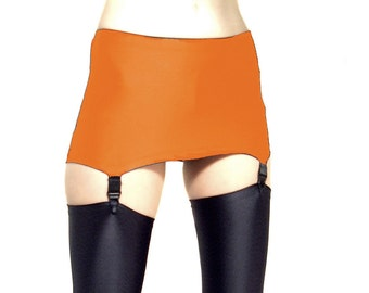 Orange Shiny Spandex pull on suspender belt
