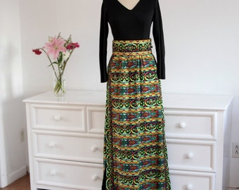 1970's Vintage Boho Colorful Festival Maxi Dress-With Bells and Jewels