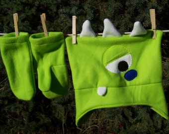 Monster Hat Lime Green One Eyed Three Horned Fleece Monster Hat Toddler Kids Child Teen Adult with Matching Mittens