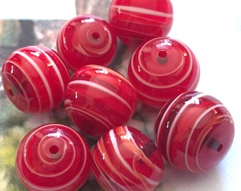 4 Rare Handmade Japanese Glass Cherry & Cream Swirl Beads 12mm