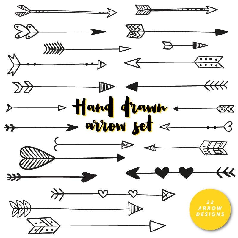 hand drawn arrows clip art tribal handdrawn arrow hearts rh etsy com free clipart arrows free clipart arrows