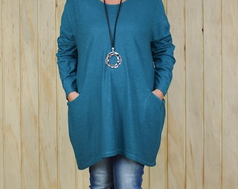 Women's Lagenlook Cotton Shirt,  Plus Size Tunic, Made in Italy, Black, Blue, Gray, Teal, Mocha Size 12 14 16 18 /20 22 24 26 28 30 9458