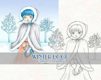 Digital Stamp Winter Girl Hood, Digi Download Snow Fashion, Christmas, Coloring Page, Clip Art, Scrapbooking Supplies