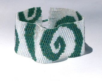 Serene Green Swirls ... Peyote Bracelet . Beadwoven Cuff . Spirals. Crystal Clear . Emerald . Elegant . Casual . Any Season . Accessory