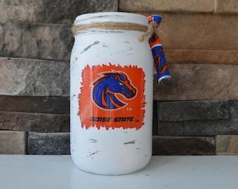 Boise State Decorative Quart Size Mason Jar
