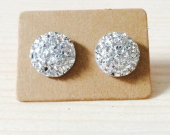 Round silver druzy style earrings