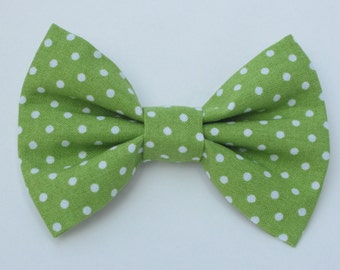 Lime Green Bowtie with White Polka Dots- Medium