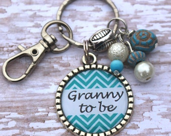 Personalized Chevron Keychain with color coordinated beads