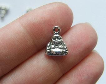 12 Buddha pendants antique silver tone R34