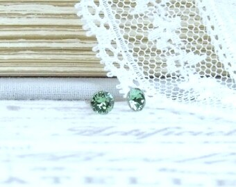 Small Green Earrings Green Studs Tiny Earrings Green Crystal Studs 4mm Earrings Surgical Steel Studs