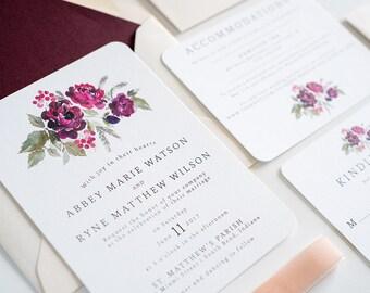 Wedding Invitation Watercolor Flower, Burgundy Floral Wedding Invite: ABBEY.