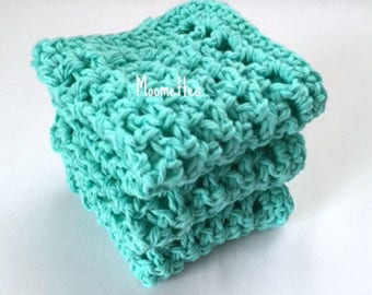 Handmade Dish Cloths Aqua Blue Turquoise Eco Friendly Cotton Crochet Kitchen Dishcloths Shabby Coastal Set of 3