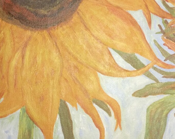 "Titled ""Maria's Sunflowers"" Floorcloth, Painted Canvas Rug, Offered by Artist"