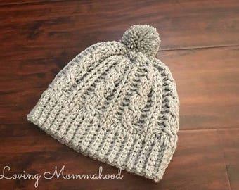 Pom Pom Hat - Cable Knit Hat - Crochet Hat - Winter Hat - Knit Beanie - Crochet Beanie - Grey Beanie - Cream Beanie -