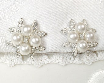 White Ivory Pearl & Rhinestone Bridal Earrings, Vintage Art Deco Pave Crystal 1920's Wedding Earrings Silver Pearl Cluster Clip On Back