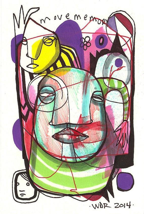 "Move Memory - Original 4"" x 6"" Illustration on Bristol Board - Signed and Framed"