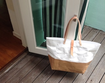 Tote Bag Large long strap : Tyvek and Kraft paper tote bag/market bag/shoulder bag/shopper bag/top handle bags/washable and eco friendly
