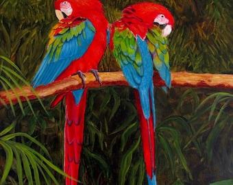 Parrots acrylic original two parrots in jungle 12x16