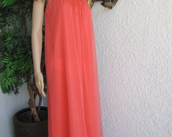 MISS ELAINE  NIGHTGOWN Coral Chiffon 1970's  sleeveless Size Small chiffon over opaque nylon with ivory lace