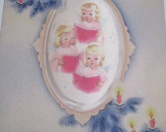 Vintage Greeting Card Lot-Ephemera-Mixed Media-Paper-Crafts-Scrap Booking-Baby-Childrens-Christmas-Set of 5-1940's