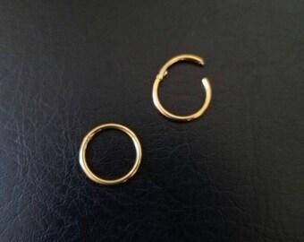 "16g 1/2"" (13mm) Gold Titanium IP 316L Steel Seamless Segment Hinged Ring Hoop Nipple Conch Earlobe"
