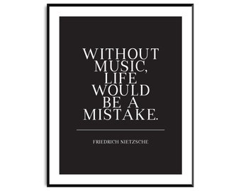 Music quote print wall art, music art print, art print typography quotes, minimal wall art, black and white,