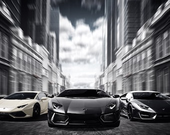 Lamborghini Huracan Murcielago Art Print Wall Decor Self Adhesive    Wallpaper Sticker