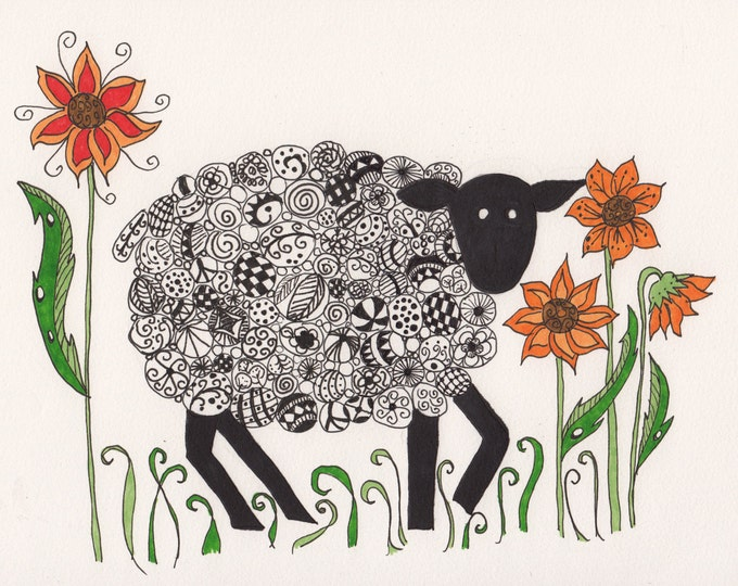 Sheep and Flowers Cards