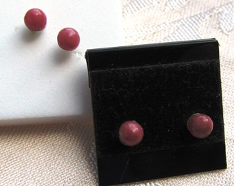 Sterling Silver Stud Earrings 4mm Rhodonite Half-drilled Spheres