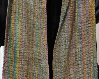 SCARF Hand dyed, Handwoven, Chenille, amber, peridot, amethyst, gold.Subtle colors, soft to the touch
