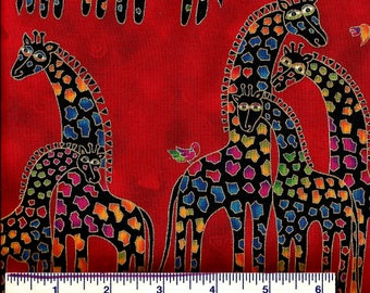 MYTHICAL JUNGLE by Laurel Burch - Giraffe Fabric - Giraffes 3 COLORS - Novelty Red, Blue or Pink - 100% Cotton - Quilt Shop Quality Fabric