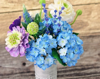 CLAYCRAFT by DECO - Clay floral arrangement with hydrangeas, ranunculus, scabiosa, pansies, veronica and lavender and