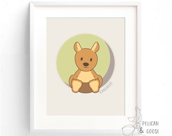 Australian Animals Art Print- Kangaroo