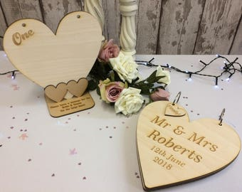 Rustic Alternative Wedding Guest Book & Table Number Personalised Set - Turns into a Wooden Heart Shaped Keepsake Album