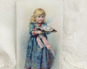 Antique Trade Card, Little Girl with Tray, The Little Armour Bear, Armour & Co.