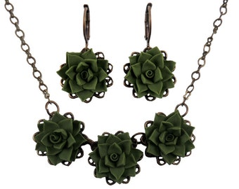 Succulent Jewelry Set - Silver or Antique Brass Trio Succulent Jewelry, Succulent Wedding Jewelry