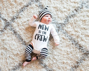 Newborn Boy Sibling Outfit, Newborn Boy Coming Home Outfit, Baby Brother Outfit, Little Brother Outfit, Newborn Announcement New to The Crew