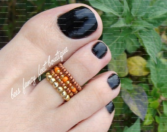 Stacking Toe Ring, Stacking Rings, Pumpkin Spice, Gold Toe Ring, Gold Ring, Copper Toe Ring, Copper Ring, Stretch Bead Toe Ring