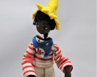 Vintage BAPS Doll Puppet. Male International Folk Puppet with Yellow Hat, Striped Shirt. Measures 4 1/2 Inches Plus Metal Wire Support. (BB)