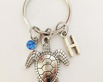Turtle keychain - personalized keychain - initial keychain - friendship keychain - best friend gift - Christmas gift