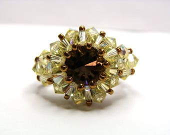Bronze chocolate Daffodil yellow Swarovski Crystal ring unique style handmade gift idea