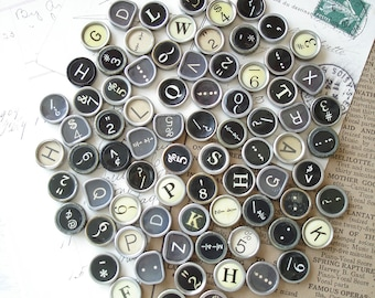 Antique Typewriter Keys. Flat Backs. Vintage Typewriter Keys. Random Mixed Lot of 5. Upcycled, Repurposed, Jewelry, Crafts, Destash Sale.